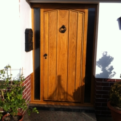 Oak Gothic Door with glass side panels